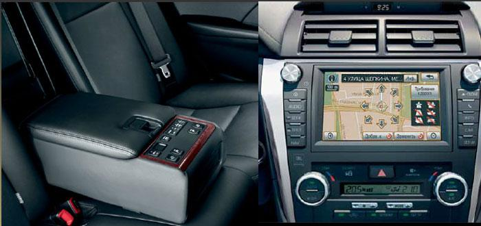 Удобное управление климат контролем сзади и навигация на русском языке в новой Toyota Camry 2012. Фото: Autogurnal.