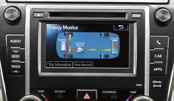 Интерактивные дисплей отражает режим работы гибридной установки новой Toyota Camry 2012. Фото: Autogurnal.